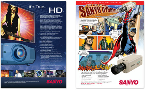 Sanyo LCD Print Ad and Security Poster Design